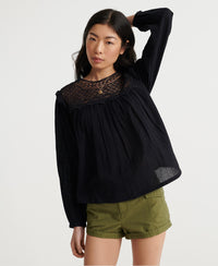 Ellison Lace Long Sleeve Top - Black