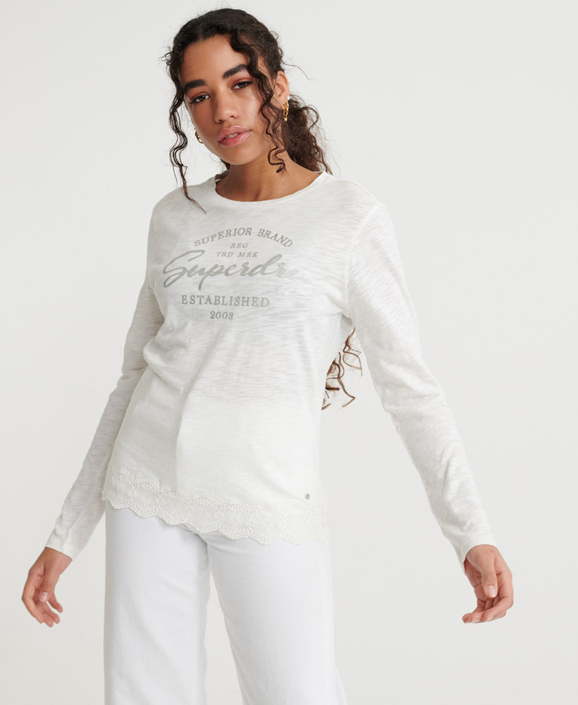 Graphic Lace Mix Ls Top - White
