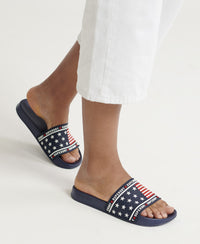 American Spirit Pool Sliders - Dark Blue