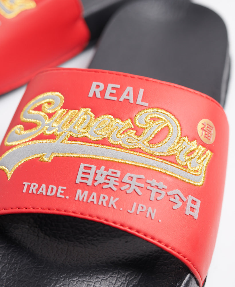 Vintage Logo Cny Pool Sliders - Black