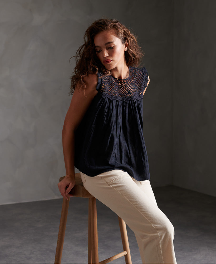 Ellison Textured Lace Vest Top - Navy