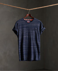 Organic Cotton Vintage Embroidery T-Shirt - Navy