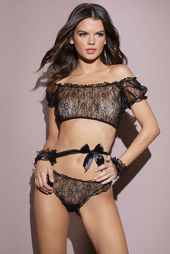 Crackle of My Eye Flutter Top, Panty & Cuffs by Coquette