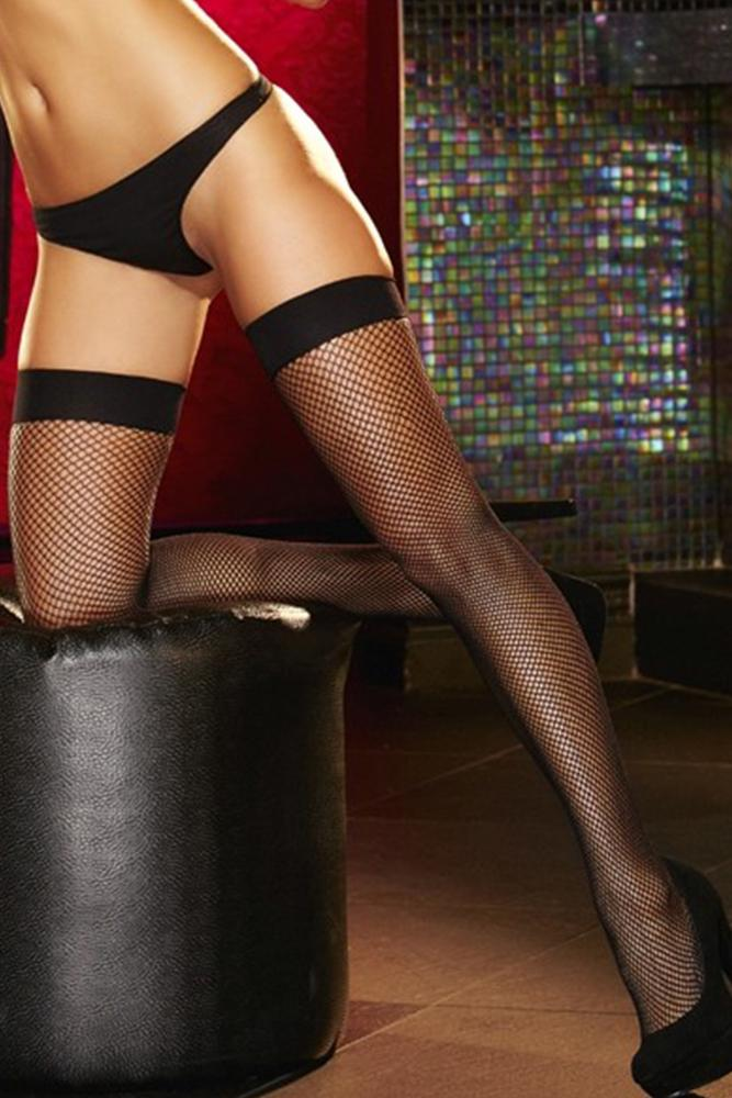 Black Fishnet Thigh High Stockings by Lapdance