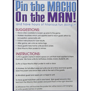 Pin the Macho on the Man Party Game by Pipedream