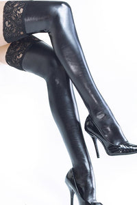 Wet Look Black Thigh Highs with Silicone Grip Tops by Coquette