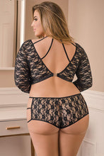 Load image into Gallery viewer, Luv Lace Black Crop Top & Shorties by Magic Silk