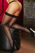 Load image into Gallery viewer, Black Fishnet Thigh High Stockings by Lapdance