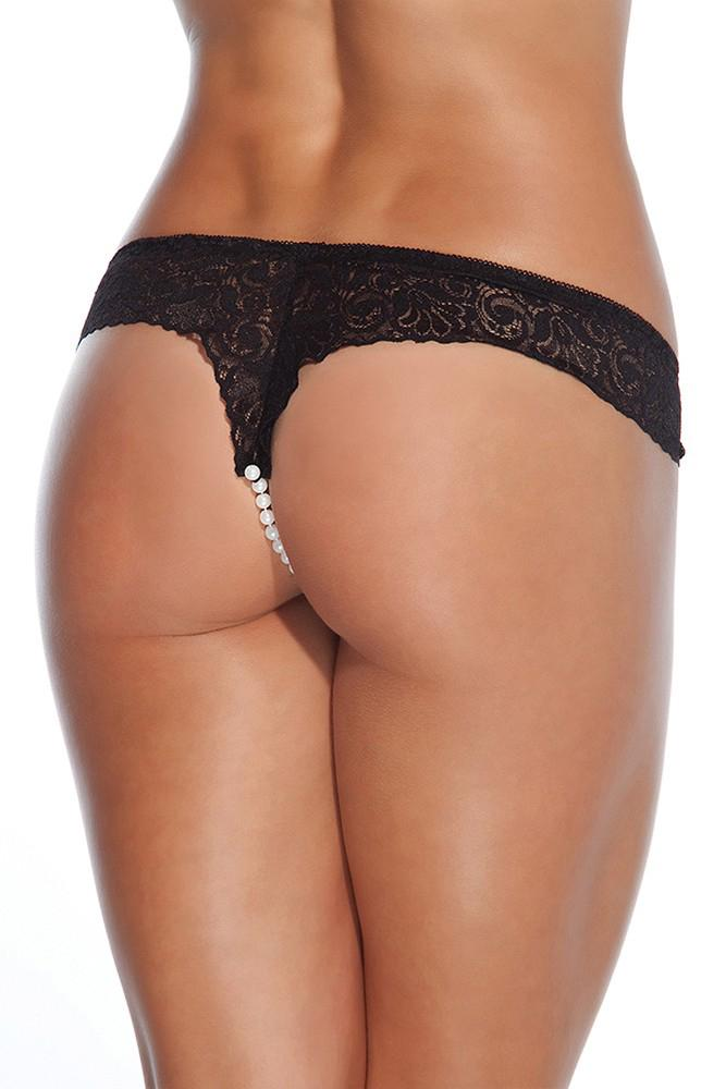 Black Lace Pearl Panty by Coquette
