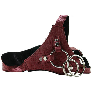 Her Royal Harness Crotchless Regal Queen in Red by CalExotics