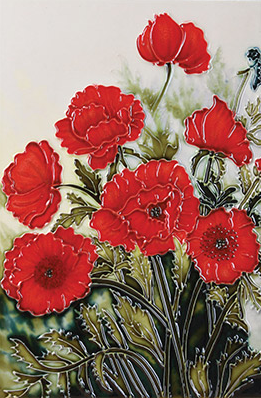 Classic Poppies Tile Art