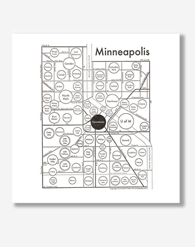 Minneapolis Circle Map | Letterpress print