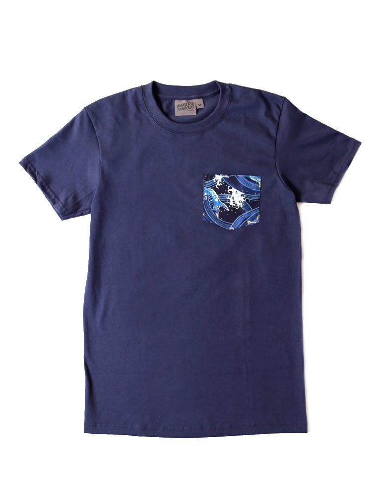 Pocket Tee | Japanese Waves in Navy | Naked & Famous