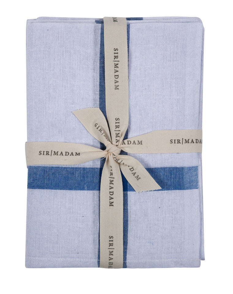 Found Cotton Cloths in White / Blue Cross