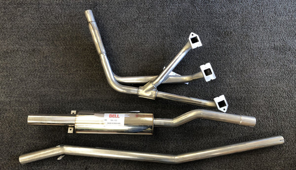 MGB-MG320H STAINLESS STEEL 1962-74  SPORT EXHAUST SYSTEM 3 PIECE  WITH STAINLESS STEEL HEADER