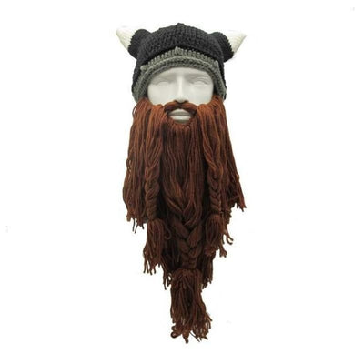 Bonnet à barbe de vikings - Marron