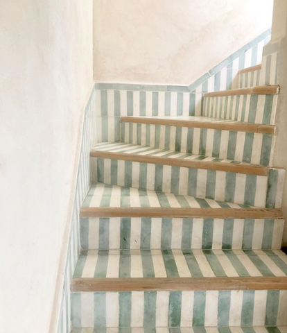 striped green and blue stairs, vintage vibe