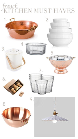 french kitchen must haves, showing copper cookware