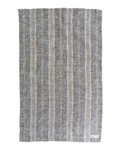 Load image into Gallery viewer, Black Charcoal striped linen tea towel large