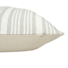Load image into Gallery viewer, Coastal Grey & White Striped Pillow - Beige Backing