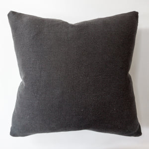Monochromatic Black Linen and Mohair Pillow