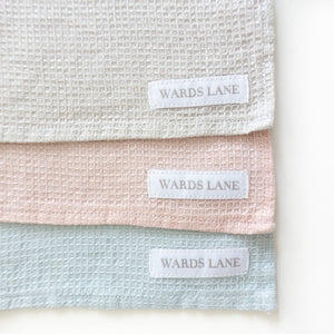 Our new pastel linen dish cloths.  These are eco friendly kitchen linens that come in pink, blue and silver