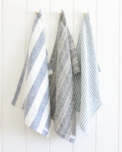 Load image into Gallery viewer, Charcoal Multi-stripe Linen Tea Towel