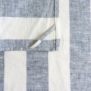Blue Large Striped Linen Tea Towel