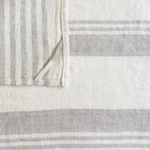 Multiple Striped Neutral Stripe Linen Tea Towel