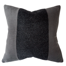Load image into Gallery viewer, This is a throw pillow.  The designer fabric consists of 100%  Belgian linen.  The colours are black/charcol with the mohair a black colour.  The back is black linen.  There is an invisible Zipper.  Perfect addition to any couch, chair, bed as a decorate luxury pillow. Fabric Brand is Schumacher, Romo and mark alexander.  The Style is traditional, modern farmhouse, restoration hardware dupe and coastal Hampton's