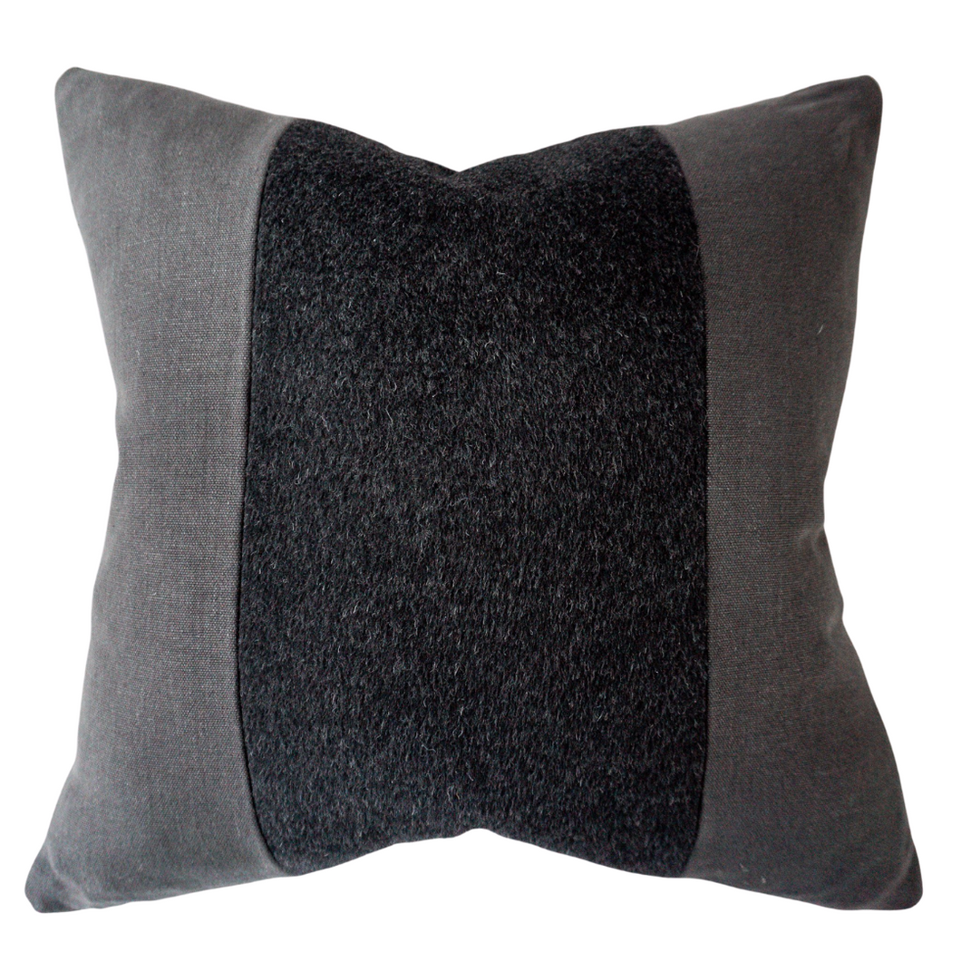This is a throw pillow.  The designer fabric consists of 100%  Belgian linen.  The colours are black/charcol with the mohair a black colour.  The back is black linen.  There is an invisible Zipper.  Perfect addition to any couch, chair, bed as a decorate luxury pillow. Fabric Brand is Schumacher, Romo and mark alexander.  The Style is traditional, modern farmhouse, restoration hardware dupe and coastal Hampton's