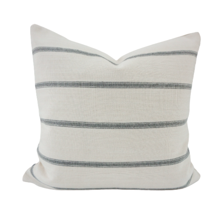 This is a throw pillow.  The designer fabric consists of waterproof fabric.  The colours are white and blue striped.  There is an invisible Zipper and it is stain, water  repellant.  Perfect addition to any couch, chair, bed and outside furniture as a decorate luxury pillow. Fabric Brand is Schumacher, Romo and mark alexander.  The Style is traditional, modern farmhouse and coastal Hampton's