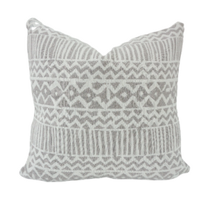 This is a throw pillow.  The designer fabric consists of waterproof fabric.  The colours are white and grey zig zag.  There is an invisible Zipper and it is stain, water  repellant.  Perfect addition to any couch, chair, bed and outside furniture as a decorate luxury pillow. Fabric Brand is Schumacher, Romo and mark alexander.  The Style is traditional, modern farmhouse and coastal Hampton's, boho, electric