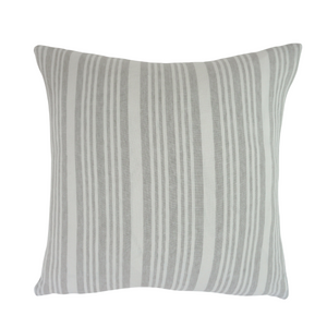 Coastal Grey & White Striped Pillow - Beige Backing