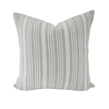 Load image into Gallery viewer, This is a throw pillow.  The designer fabric consists of  100%  Belgian linen.  The colours are grey and white striped.    The back is neutral linen.  There is an invisible Zipper.  Perfect addition to any couch, chair, bed as a decorate luxury pillow. Fabric Brand is Schumacher, Romo and mark alexander.  The Style is traditional, modern farmhouse and coastal hamptons