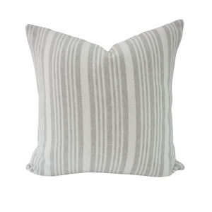 This is a throw pillow.  The designer fabric consists of  100%  Belgian linen.  The colours are grey and white striped.    The back is neutral linen.  There is an invisible Zipper.  Perfect addition to any couch, chair, bed as a decorate luxury pillow. Fabric Brand is Schumacher, Romo and mark alexander.  The Style is traditional, modern farmhouse and coastal hamptons