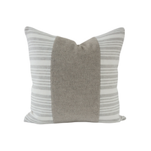 Load image into Gallery viewer, This is a throw pillow.  The designer fabric consists of mohair fur and 100%  Belgian linen.  The colours are grey and white striped with the fur mohair stripe in the middle.  The back is neutral linen.  There is an invisible Zipper.  Perfect addition to any couch, chair, bed as a decorate luxury pillow. Fabric Brand is Schumacher, Romo and mark alexander.  The Style is traditional, modern farmhouse and coastal hamptons