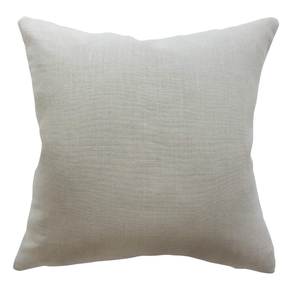 This is a throw pillow.  The designer fabric consists of 100%  Belgian linen.  The colour is beige.   The back is beige/neutral/natural linen.  There is an invisible Zipper.  Perfect addition to any couch, chair, bed as a decorate luxury pillow. Fabric Brand is Schumacher, Romo and mark alexander.  The Style is traditional, modern farmhouse and coastal Hampton's