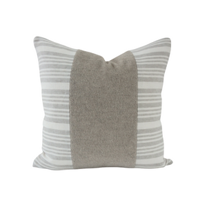 This is a throw pillow.  The designer fabric consists of mohair fur and 100%  Belgian linen.  The colours are grey and white striped with the fur mohair stripe in the middle.  The back is neutral linen.  There is an invisible Zipper.  Perfect addition to any couch, chair, bed as a decorate luxury pillow. Fabric Brand is Schumacher, Romo and mark alexander.  The Style is traditional, modern farmhouse and coastal hamptons