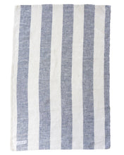 Load image into Gallery viewer, Blue Large Striped Linen Tea Towel