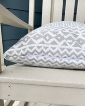 Load image into Gallery viewer, Indoor / Outdoor Washable Grey ZigZag Geometric Pillow
