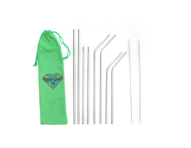 Reusable Set of 8 Stainless Steel Straws