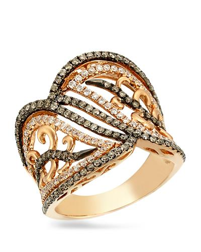 Brand New Ring with 1.01ctw of Precious Stones - diamond and diamond 18K Rose gold