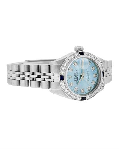 Rolex PreOwned Automatic (Self Winding) date Watch with 0.85ctw of Precious Stones - diamond and sapphire
