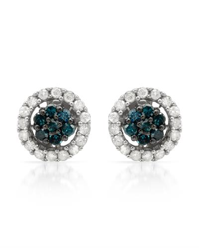Brand New Earring with 0.5ctw of Precious Stones - diamond and diamond 925 Silver sterling silver
