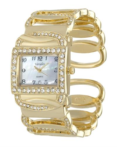 Varsales V4549-3 Brand New Japan Quartz Watch with 0ctw of Precious Stones - crystal and mother of pearl