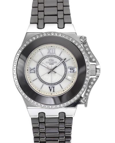 Oniss ON669-L/BRN PARIS Brand New Swiss Movement date Watch with 0ctw of Precious Stones - cubic zirconia and mother of pearl