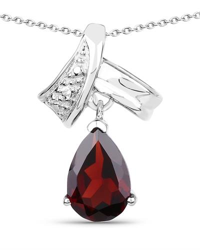 Brand New Necklace with 1.3ctw garnet 925 Silver sterling silver