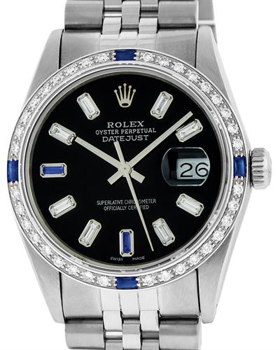 Rolex PreOwned Automatic date Watch with 1.37ctw of Precious Stones - diamond and sapphire
