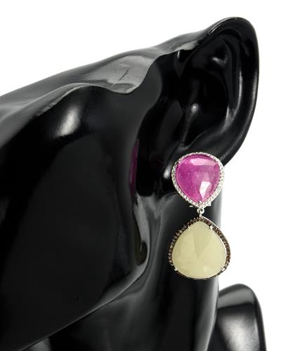 Brand New Earring with 43.55ctw of Precious Stones - diamond, diamond, sapphire, and sapphire 14K White gold